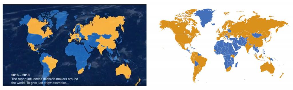 Mapa de Mundial de Países contra el Informe Australiano de Homeopatía